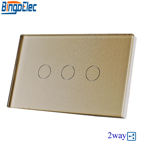 Hot Sale Good Quality AU/US Standard Bingoelec Gold Glass Panel 3gang 2way Touch Switch, Wall Mounted Stair Switch. 110V-220V alluring plus size keyhole neck flounced lace blouse for women