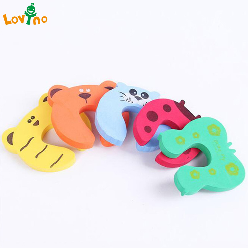New 6Pcs Baby Pinch Finger Guard Jammer Lock Stopper Protector Safety Door Stop Color Random Delivery New cute monkey pattern baby safety door stopper finger pinch guard brown