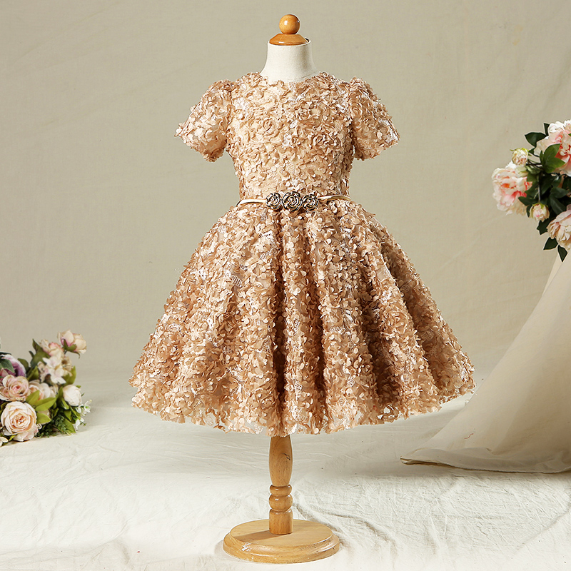Gold Vintage Flower Girls Dresses For Weddings Ball Gown Appliques Princess  Girls Dress Kids Girl Evening Party Dress A38-in Dresses from Mother   Kids  on ... 77013eccd511