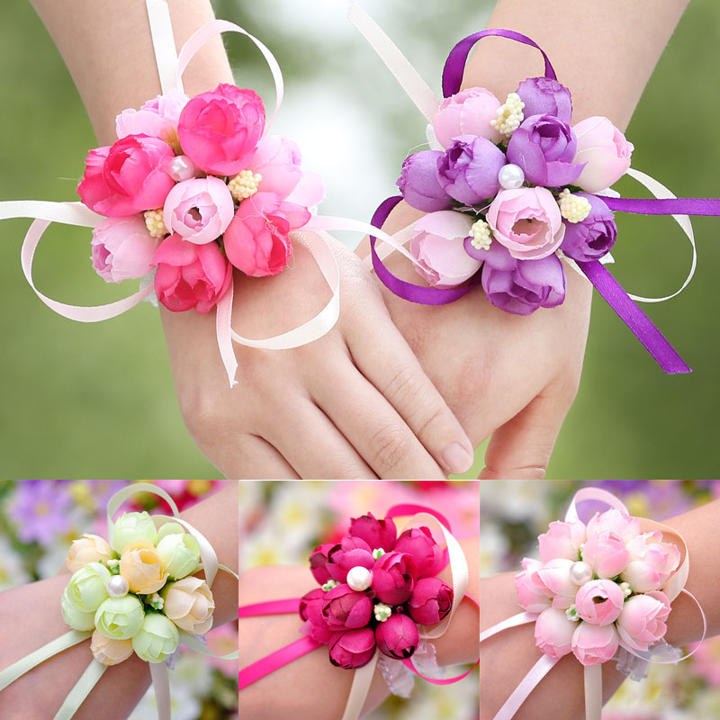 2019 New Wedding Accessories 1pc Wedding Bridesmaid Wrist Flower Sisters Hand Flower Pearl Wrist Flower For Bridesmaid Casamento