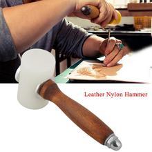 Ручной Т-образный кожаный молоток с деревянной ручкой, нейлоновый кожаный молоток для резьбы, инструмент для рукоделия