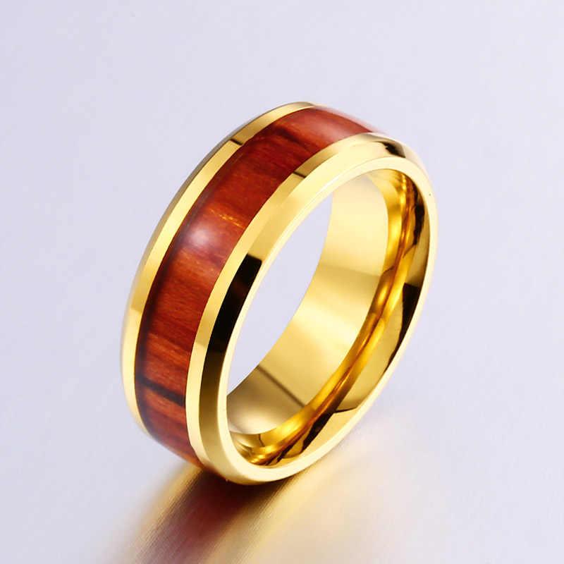BEIER แฟชั่นธรรมชาติทองสีสแตนเลส Koa ไม้แหวนคู่เครื่องประดับสำหรับผู้ชายผู้หญิง Lover ของขวัญ WR-R102