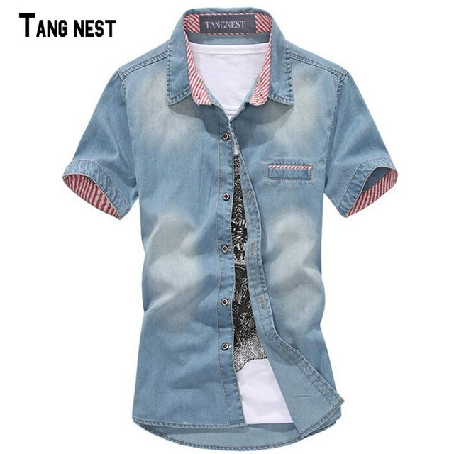 TANGNEST 2017 New Arrival Men's Summer Casual Jeans Shirt  Short Sleeve Single Breasted Jeans Male Fashion Jean Shirts MCS276