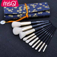 MSQ 10pcs High Quality Professional Cosmetic Makeup Brush Set Black With Soft Fibre Hair And Canvas