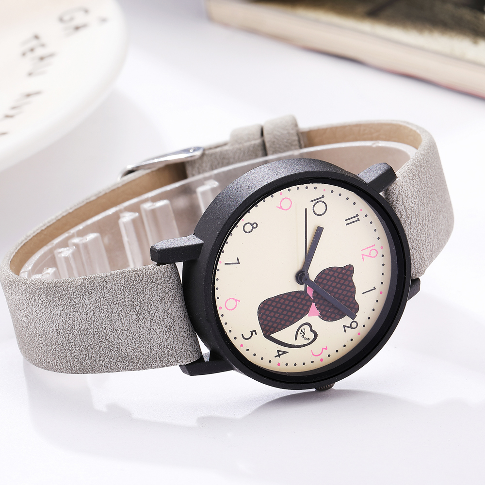 Cute Cat Printed Women Watches Matte Leather Band Quartz Wrist Watch Clock Ladies Girl Casual Sport Watches Reloj Mujer 2020