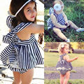 2016 Fashion Baby Girls Clothes Summer Sunsuit Outfits Stripe Backless Dress Briefs Set 0-24M