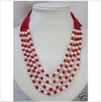 ddh001652 4rows Natural 7 8mm Akoya Cultured Pearl 6mm Red Coral rounds beads necklace AAA 28% Discount