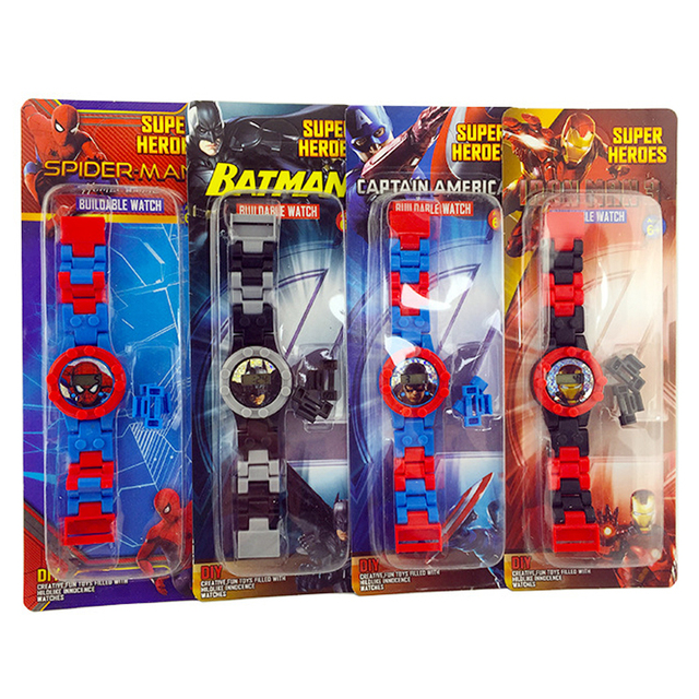 Children educational building blocks toy electronic watch kids Avengers Spiderma
