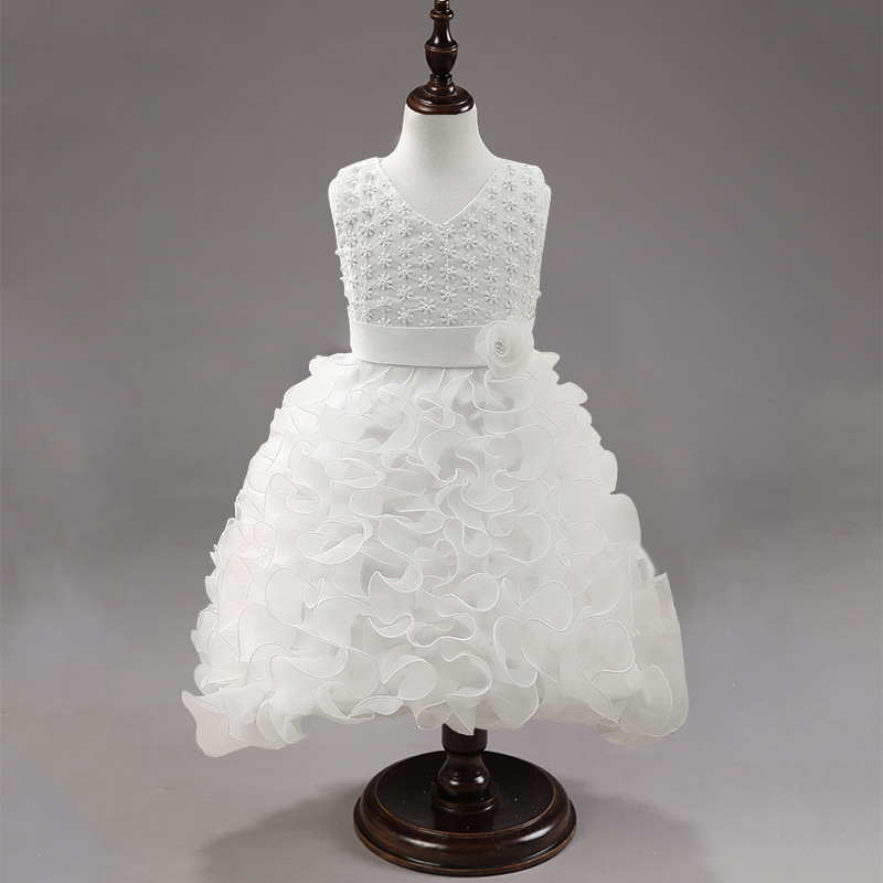 Children Long Formal Flouncing Ball Gowns for Little Girls White Flower Girls Dress Pageant Princess Party Dress Kids Princess in stock layered pre teen party gowns little girls pageant dress pink color