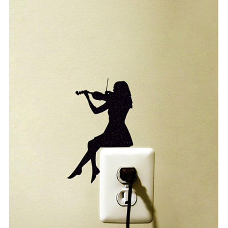 Chica violín 5WS0063 Interruptor Sticker Decoración Tatuajes de Pared de Vinilo