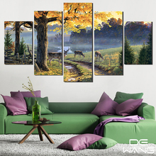 5 Pcs Painting Lake Animal Tree Deer Head Canvas Paintings Print Room Decor Print And Poster Wall Pictures Painting Calligraphy