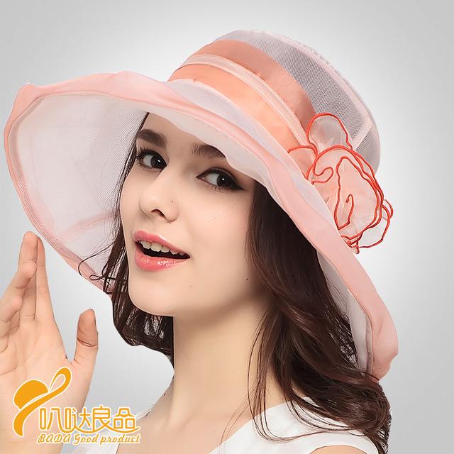2016 Nuevos Sombreros de Playa Sombreros de Las Mujeres Sombrero de Verano Niña Grande Bongrace Sombrero de Ala Ancha de Encaje de Seda Flor Sunhat B-3195