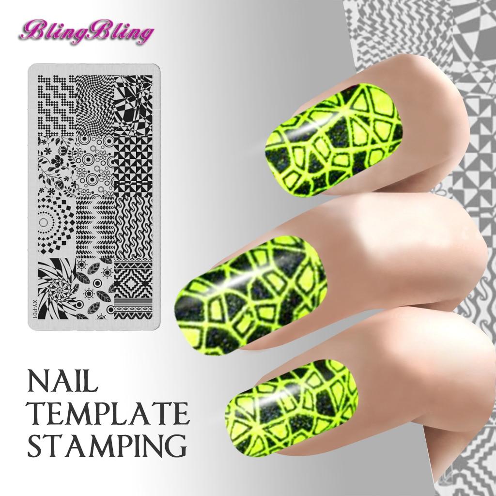 Nuevo 7 unids Manicura Stamping Nail Art Placas Tira Patrón Ondulado ...
