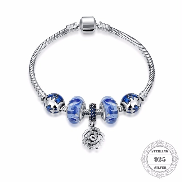 HEMISTON 925 Sterling Silver Blue Flower Charm Bracelets with Rose for Women Fine Jewelry Original Gift PAB010