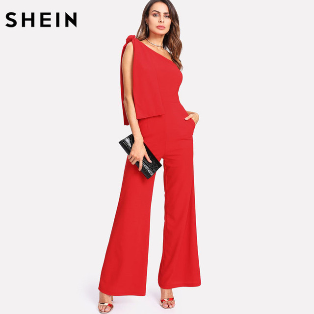 3766dff996 SHEIN Red Jumpsuits Summer One Shoulder Sleeveless Mid Waist Party Jumpsuit  Knot Palazzo Zipper Rompers Womens