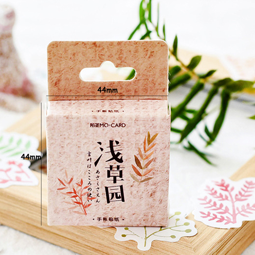 Купить с кэшбэком 46pcs/pack Plant Leaves Decorative Paper Stickers Scrapbooking Stick Label Diary Stationery Album Stickers Message Paper Card