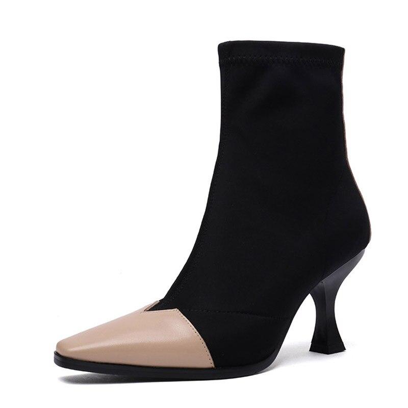 Cadena 3 18 Elástico Europea Cuero Otoño Mujeres 5 Color Las Zapatos Alto 4 1 Marca Tacón Lujo Invierno Botas Matching 2 De Sujetador 6 U7wt7Pq
