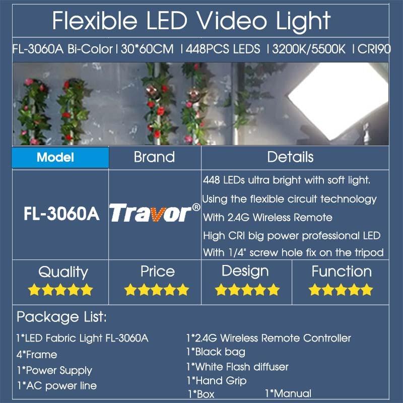 Travor Flexible led video light Bi-Color FL-3060A tamaño 30 * 60CM - Cámara y foto - foto 6