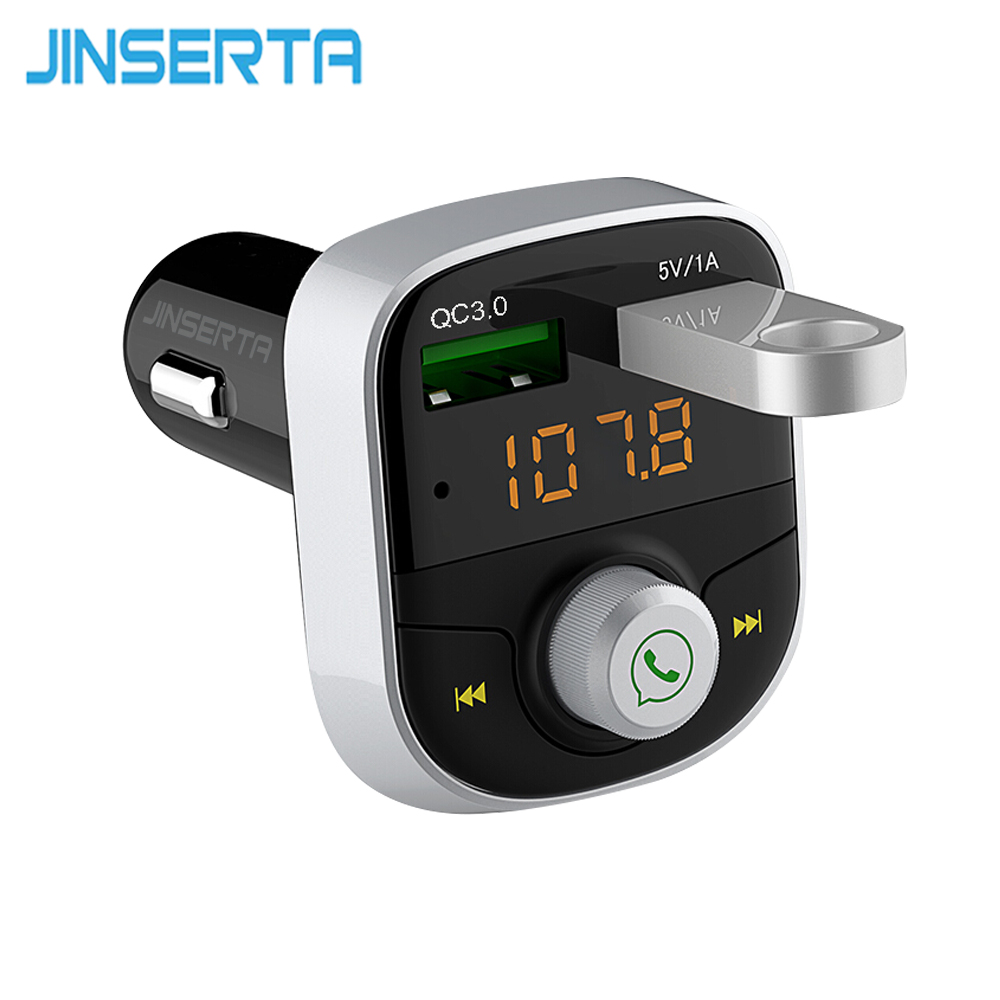 JINSERTA Bluetooth FM Transmitter Quick Charger 3.0 Car MP3 Music Player Dual USB Radio Modulator Car Kit HandsFree FLAC/APE