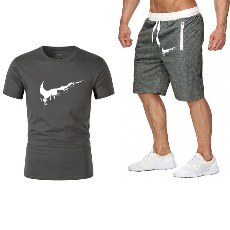 2019 Summer Hot Sale Men's Sets T Shirts+shorts Two Pieces Sets Casual Tracksuit New Male Casual Tshirt Fitness Trousers Men Set