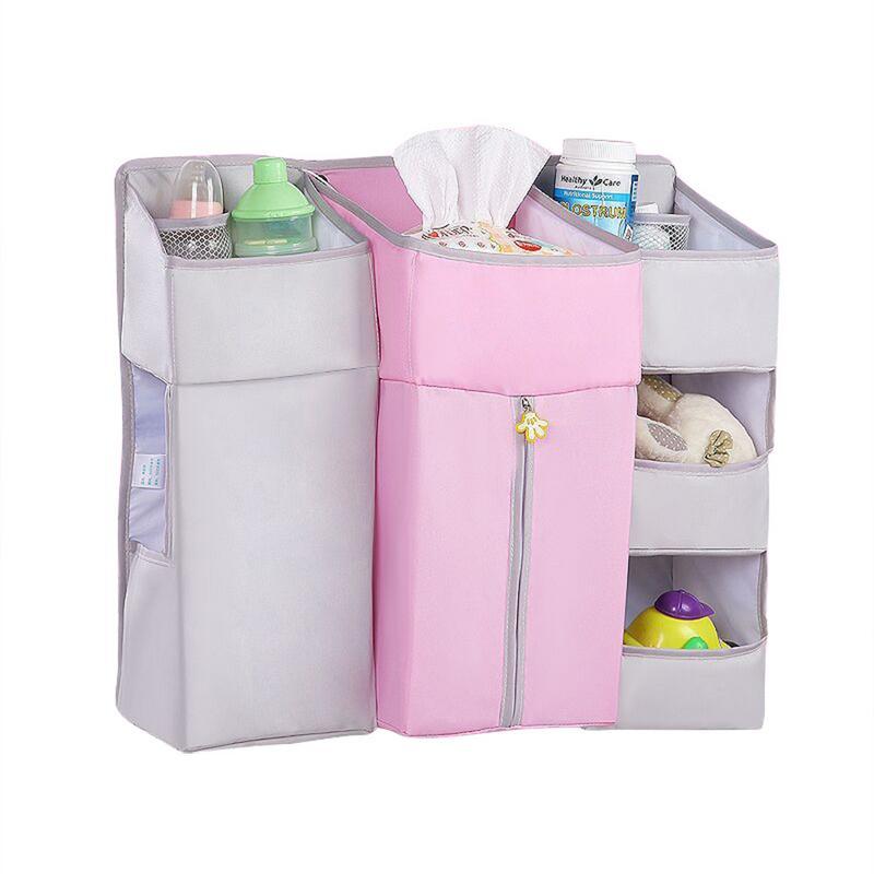 Baby Crib Hanging Bag Multi-Function Storage Bag Bed Nursery Organizer Baby Diaper Caddy Hanging Organization Storage