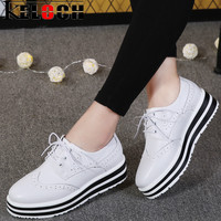 Keloch New Women Platform Brogue Flats Shoes Summer Patent Leather Lace Up Moccasins Female White Black