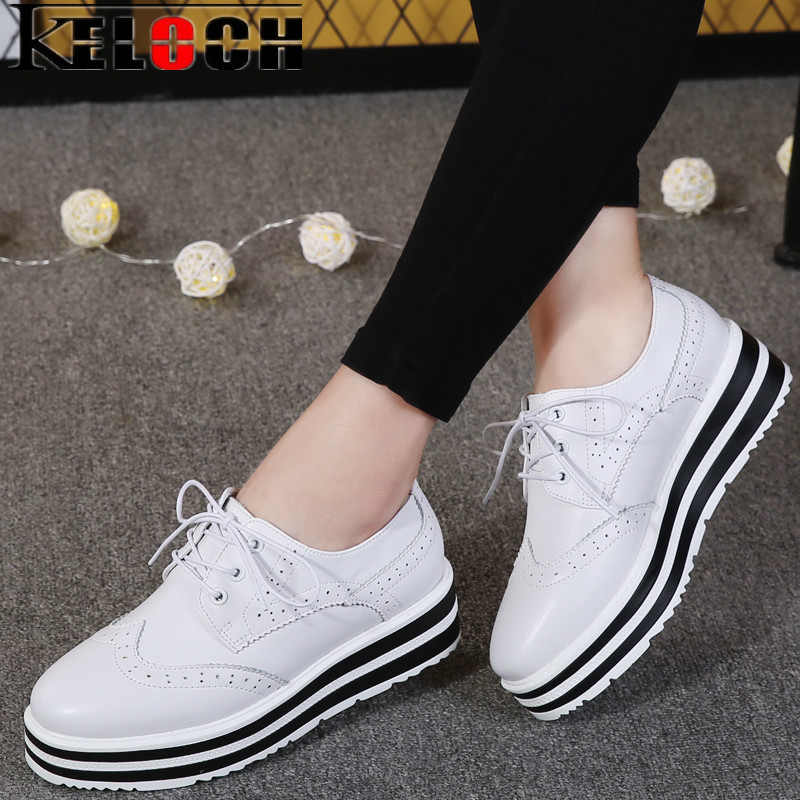 Keloch New Women Platform Brogue Flats Shoes Summer Patent Leather Lace Up Moccasins Female White Black Shoes for Women Creepers n11 brand 2017 spring women platform shoes woman brogue patent leather flats lace up footwear female flat oxford shoes for women