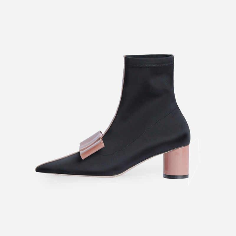 Prova Perfetto Yeni Stil Streç Kumaş Çizmeler Kadın Sivri Burun Yuvarlak Topuk Ilmek Ayakkabı Kadın Yüksek Topuklu Çorap Çizmeler yarım çizmeler
