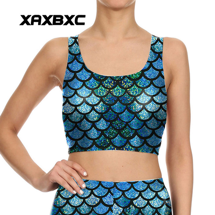 XAXBXC 014 Summer Sexy Girl Vest   Tank     Tops   Shiny Mermaid Scale Cosplay Prints Slim Fitness Sleeveless Women Cropped   Tops