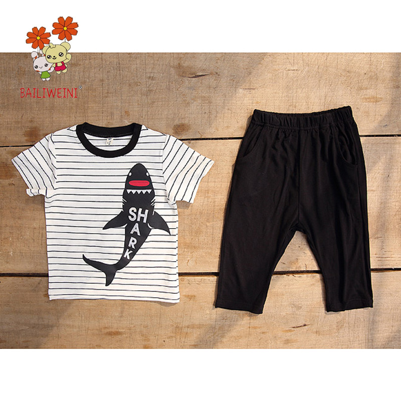 2018 Summer Boy Letter Cute Shark Suit Cotton Tide Child Suit Kids Wear High Quality 2pcs Boys Clothing Set 3-8 Yrs Sport Suit
