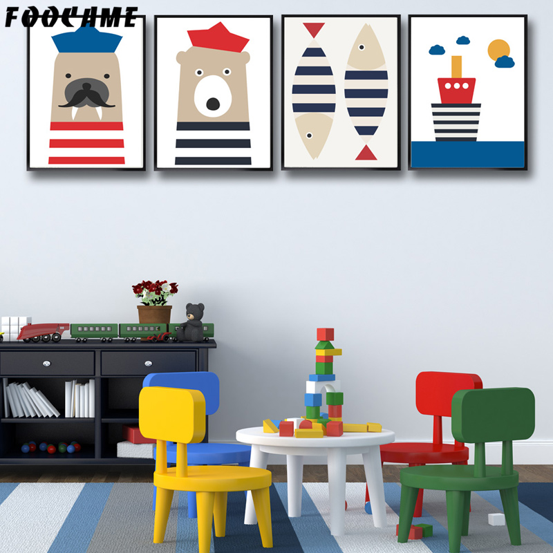 FOOCAME Cartoon Sailor Joints Ours Poissons Bateau Affiches