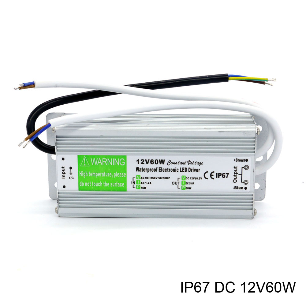 DC 12V Outdoor ip67 Waterproof Electronic Led Driver AC 90-250V to DC 12V 60W Constant Voltage Power Supply for Lights dhl free ship 250w waterproof led power supply ac90 250v to 12v 24v output constant voltage driver 2 year warranty transformer