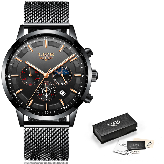 Relogio LIGE Mens Watches Top Brand Luxury Casual Quartz Wristwatch Men Fashion Stainless Steel Waterproof Sport Chronograph+Box