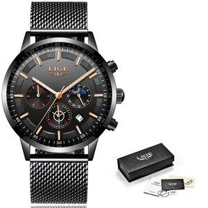 Image 5 - Relogio LIGE hommes montres haut de gamme de luxe décontracté Quartz montre bracelet hommes mode acier inoxydable étanche Sport chronographe + boîte