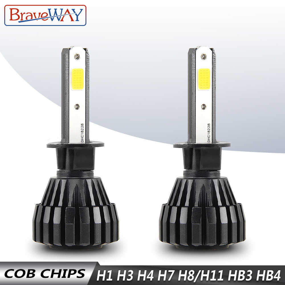 BraveWay Auto Lamps 8000LM 6500K H1 H3 H4 LED Car Headlight H7 H8 H9 H11 9005 HB3 9006 HB4 Led Fog Light Bulb