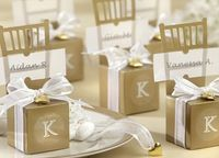 Paper Wedding Gold Miniature Chair Candy Favor Box Wedding Gift Box With Heart Charm And Ribbon