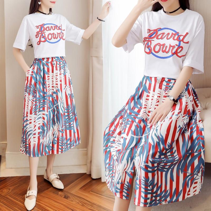 2019 Women Summer Boho Beach Dress Two Piece T Shirt Dress Suits Print Shirt Sexy Maxi Long Elegant Party Dress in Dresses from Women 39 s Clothing