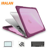 2in1 Hard Crystal Glossy Cover Case shell For 11 12 13 15 inch New Macbook Air Pro Retina laptop bag case