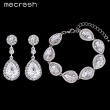 Mecresh Crystal Bridal Jewelry Sets Silver Color Teardrop Bridal Bracelet Earrings 2017 Wedding Jewelry for Women SL051+EH070