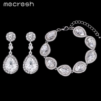 New Arrival Water Drop Earrings Bracelets Jewelry Set White K Plated Crystal Bridal Accessories Wedding Jewelry