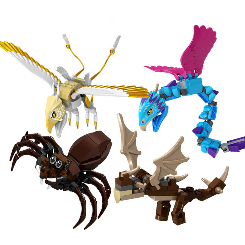 Single Toy Legoinglys Animal Spider Snake Thunderbird Fly Bird Model Building Blocks Kits DIY Educational Toys For Children
