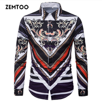 Zemtoo Retro Floral Men Casual Shirt New Arrival Long Sleeve Casual Slim Fit Male Shirts 2018