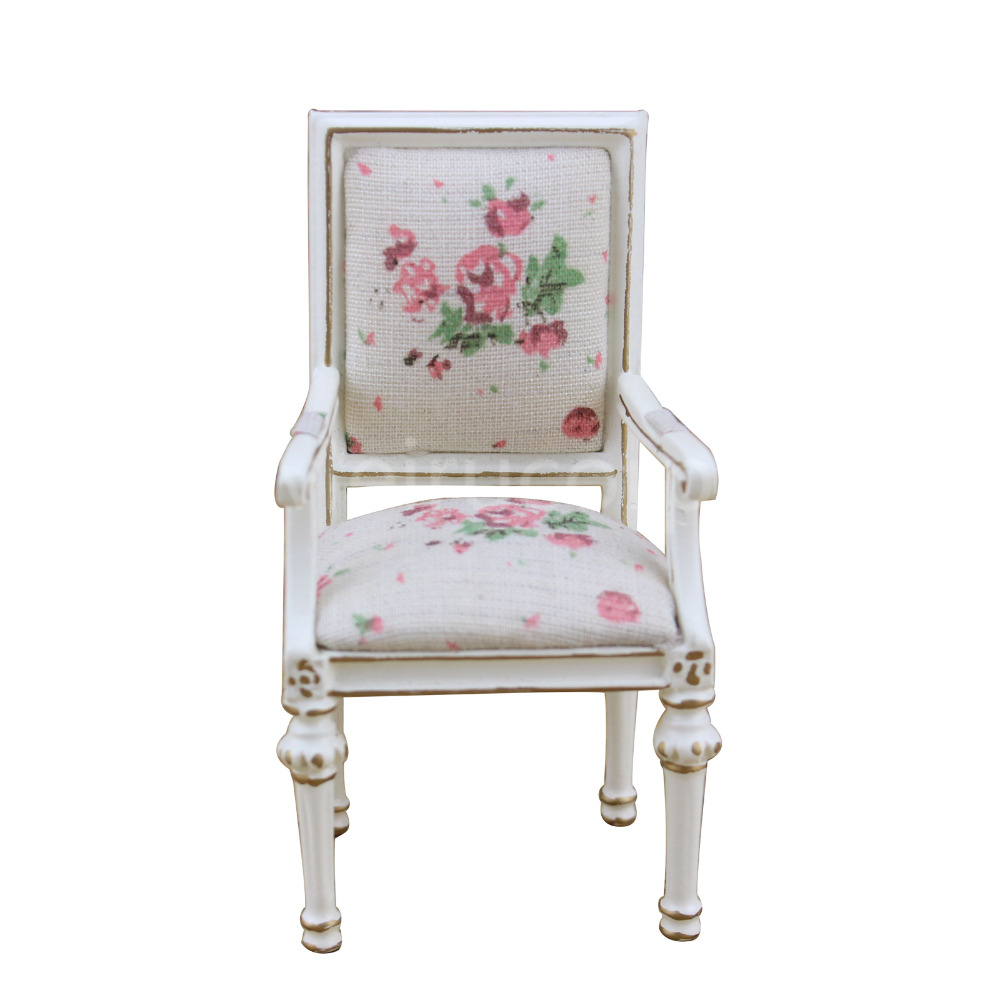 Dollhouse miniature furniture 1 12 scale high quality Petal pattern Fabric chair