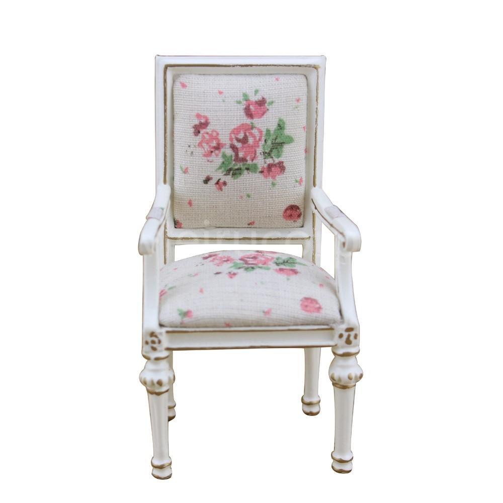 Dollhouse miniature furniture 1 12 scale high quality Petal pattern Fabric chair