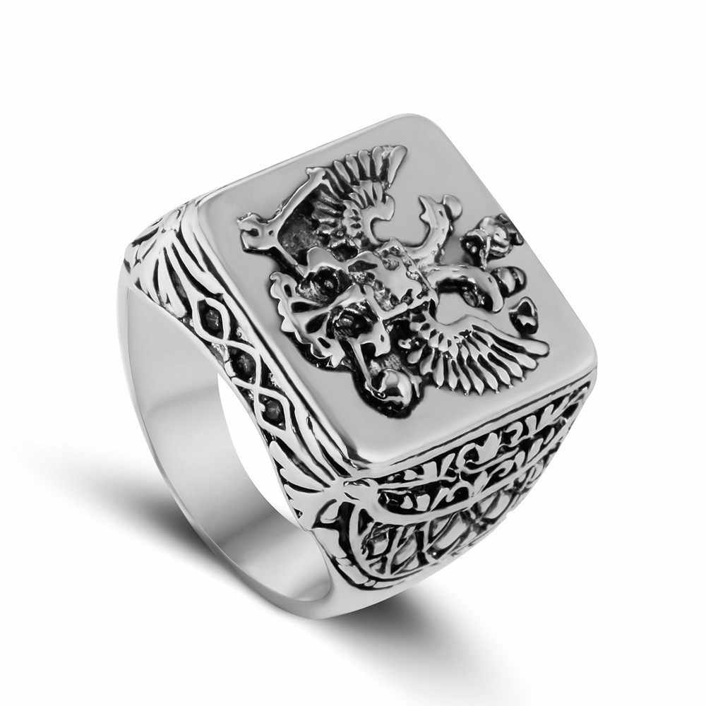 7402a46c90fa Сталь солдат двуглавый орел кольцо Мужчины кольца ювелирные изделия для  мужчин герб Российской перстень