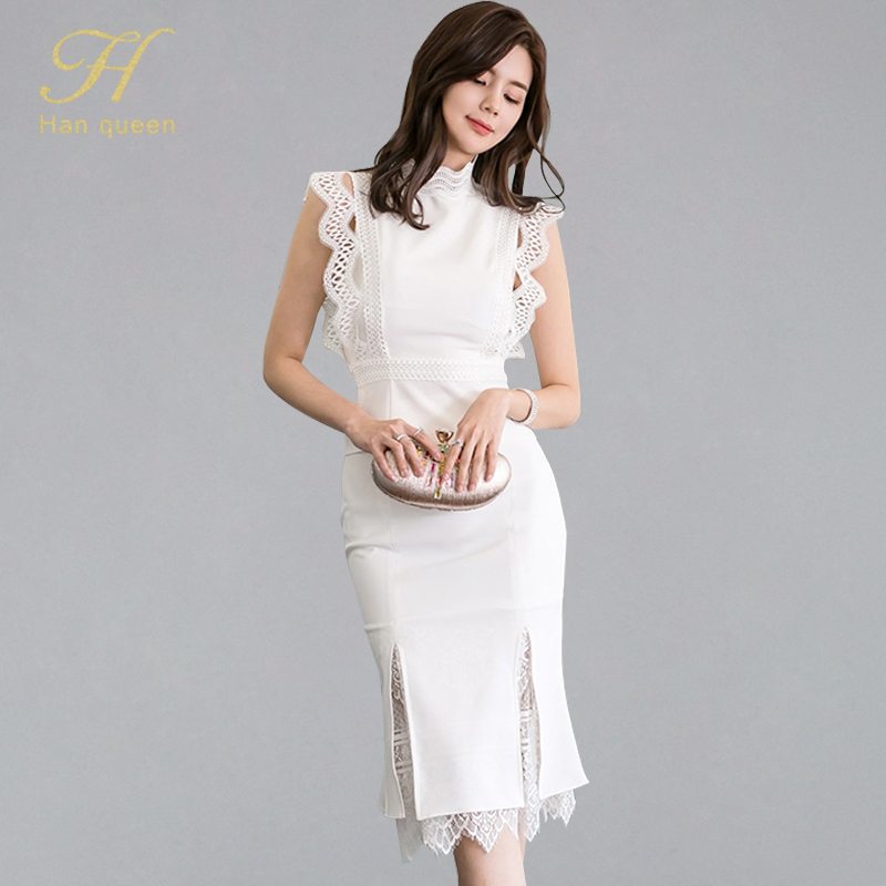H Han Queen Women Summer 2 Pieces Suits 2019 Lace Patchwork Shirts Top And Mermaid Bodycon Skirts OL Work Wear Business Set NewWomens Sets   -