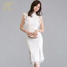 Женский костюм из двух предметов H Han Queen, белая рубашка в стиле пэчворк с кружевами и облегающая юбка Русалка, офисный костюм для работы, лето 2019