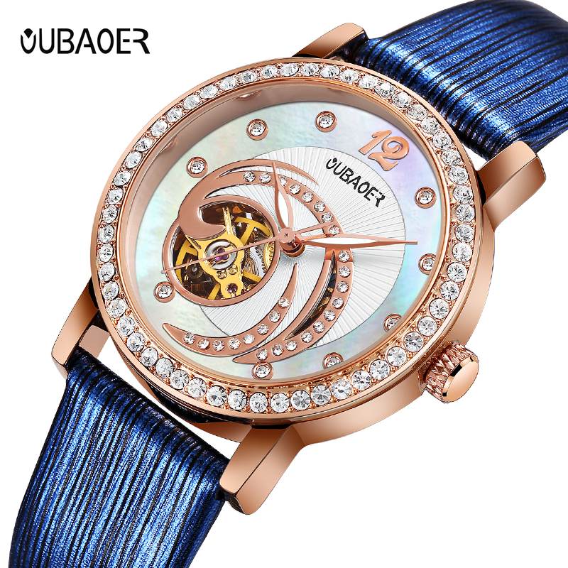 OUBAOER Blue Skeleton Automatic Watches Women Fashion Bracelet Watch Ladies Rhinestone Luxury Genuine Leather Mechanical Watch цена 2017