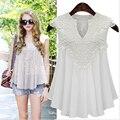 European and American women new summer V-neck sleeveless chiffon shirt stitching lace pleated chiffon shirt Women blouse 5XL