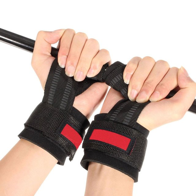 1 Pair Weight Lifting Hand Bar Grips Straps Wrist Support